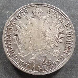Austria, Silver 1 Florin, 1889, toned