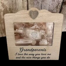 Grandparents Special Photo gift natural wooden heart frame 4 x 6 Sentimental