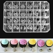 24pcs Cake Baking Mold Tools Cutter Icing Piping Pastry Tips Fondant Chocolate