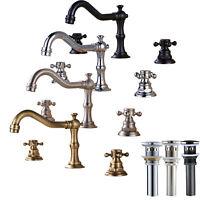 Widespread Bathroom Basin Faucet Dual Handles Sink Mixer Tap Three Holes Set