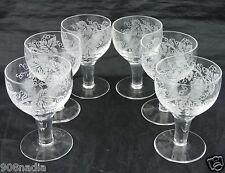 VINTAGE ETCHED GRAPEVINE GRAPE GLASS OR CRYSTAL GOBLET SET 6 STEMWARE GLASSWARE