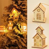 Christmas Cute Led Light Wood House Xmas Tree Hanging Ornaments Holiday Decor