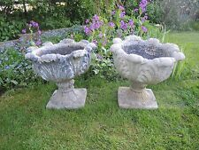 Pair Of Old Weathered Vintage Stone Tulip Shaped Urns Garden Planters  (411)
