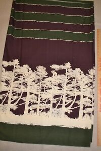 "Cotton fabric 46"" x 3.1 yards, tree silhouette border print"