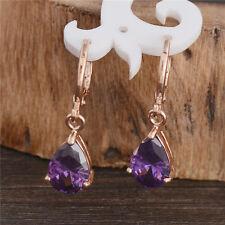 8 Color Fashion Drop CZ Crystal Dangle Earrings 18K Gold Plated Fashion Ear Hoop