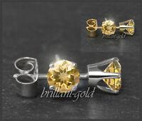 Ohrstecker 585 Gold Citrin orange 3,4,5,6 mm, Gelbgold/Weißgold Damen Schmuck