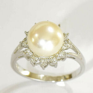 PEARL RING 9.6mm CULTURED FRESHWATER PEARL DIAMONDS 9K WHITE GOLD SIZE O NEW