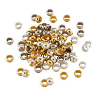 100pcs Brass European Large Hole Beads Rondelle Smooth Loose Spacer Charms 7x4mm