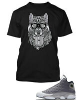 J13 Wolf T Shirt to Match Air Jordan 13 Atmosphere Grey Mens Pro Club Tee Shirt