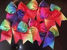 NEW! Rhinestone Rainbow Ribbon Cheer Hair Bow - Cheerleading- Size 7.5""
