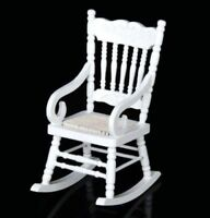 1:12 Dollhouse Miniature Doll Furniture Elegant White Wooden Rocking Chair Gift♫
