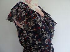 Kachel Navy Blue & Red Floral 100% Silk Dress, Size 12