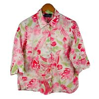 Callan Designs Womens Blouse Size 14 Vintage Floral Multicoloured 3/4 Sleeve