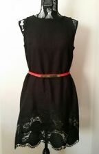 NEW Black Linen Embroidery shift dress, size 12