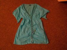 Turquoise Kaftan/Cover Up Size Small F&F With Sequin Detail To Front & Mock Ties