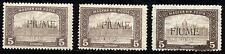 FIUME - 1918/19 - 5 K. bruno e bruno chiaro - Tre valori - nuovi - MH - n.20/I