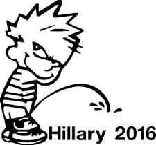 "6"" Calvin Pee Piss on Hillary Clinton 2016 Vinyl Decal Window Sticker Trump"