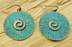 Seashell Disc Copper Effect & Turquoise Antique Style Drop Earrings 3cm NEW