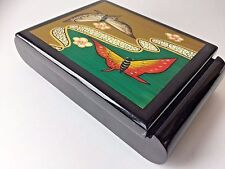 Black lacquered jewelry trinket box unique hand painted butterfly vintage Japan