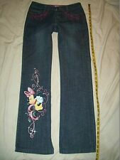 Womans Blue Jeans DISNEY Minnie Mouse Sz 4 Pants Measures 31x31 Pink Embroidered