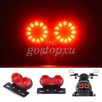 Motorcycle LED Dual Twin Tail Turn Signal Brake License Plate Integrated Light