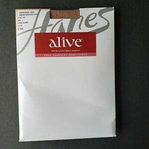 Hanes ALIVE Full Control Top Reinforced Toe Little Color Pantyhose Size E
