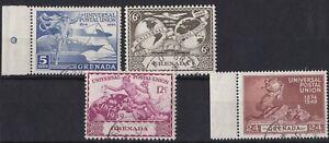 AUCT728) Grenada 1949 UPU, Set of 4, CTO, lightly hinged