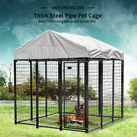 "48""/72""/96""Large Dog Cage Crate Outdoor Kennel House Heavy Duty Metal with Cover"