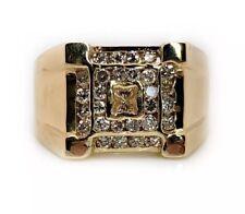 18K Solid Yellow Gold 0.66 Ct Natural Diamond Men's Signet Ring 8.8 Grams