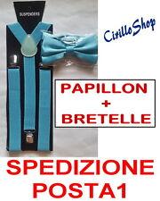BRETELLE + PAPILLON ADULTO REGOLABILI CRAVATTINO RASO TURCHESE TIFFANY VERDE