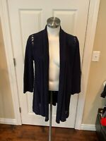 Angel of the North Anthropologie Navy Blue Open Front Long Cardigan, Size Medium