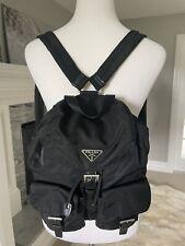 Auth PRADA Logo Tessuto Small Backpack Bag Nylon Leather Black Italy Flaw