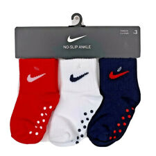 Nike 3 pair no slip ankle socks solid red white blue infant size 12-24 months