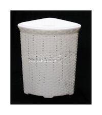 White 52L Litre Woven Style Plastic Corner Large Laundry Basket Bin Storage