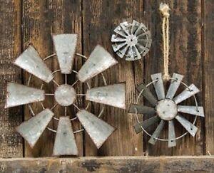WINDMILL Wall Hanging Decor,Ornament,Craft 3 sz Galvanized Metal FARM WINDMILL
