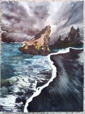"""""""Reynisfjara Beach in Iceland"""" watercolor painting of beginner artist (9*12 in)"""