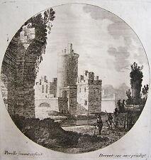PERELLE , EAU FORTE ORIGINALE FIN 17 ÈME, DREVET.Collection petits paysages.(2)