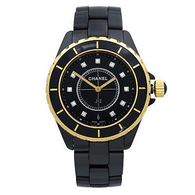 Chanel J12 18K Yellow Gold Black Ceramic Diamond Quartz Ladies Watch H2544