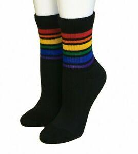 Pride Socks Black Crew Athletic Rainbow Sock Brave