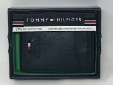 Tommy Hilfiger Men's RFID Leather Front Pocket Wallet Navy Magnetic Money Clip