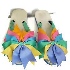Womens Ribbon Bow Flip Flops Blue Pink Slip On Embellished Thong Flats Pool 9.5
