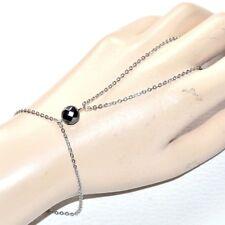 Chaîne de main bracelet bague acier inoxydable (coul argent ) Hématite bijou