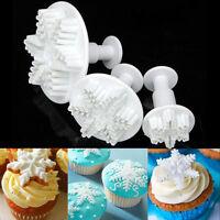 3pcs Snowflake Plunger Cutter Mold Sugarcraft Fondant Cake Decorating Tool New