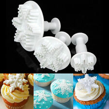 3pcs Snowflake Plunger Cutter Mold Sugarcraft Fondant Cake Decorating Mould Tool