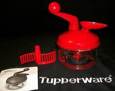Tupperware RED Quick Chef Food Processor NEW ~Chop Chopper Spin Blend Whisk Mix