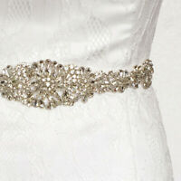 Vintage Crystal Rhinestone Sash  Beaded Bride Wedding Dress Gown Sash