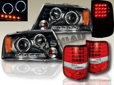 2004-2008 FORD F150 DUAL HALO LED PROJECTOR HEADLIGHTS + LED RED TAIL LIGHTS