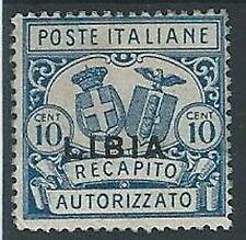 1929 LIBIA RECAPITO AUTORIZZATO 10 CENT MH * - ED211