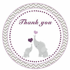 40 Thank you Label Stickers Elephant Baby Shower Party Favor Chevron Purple A1