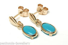 9ct Gold Oval Turquoise Drop earrings Gift Boxed Made in UK